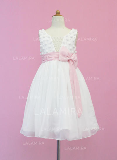 Chiffon/Tulle A-Line/Princess Sash/Beading/Bow(s) Beautiful Flower Girl Dresses (010005339)