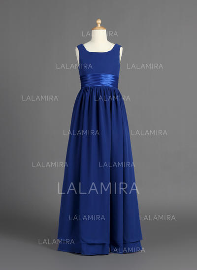 Floor-length Scoop Neck Chiffon/Charmeuse Flower Girl Dresses With Ruffles (010007386)