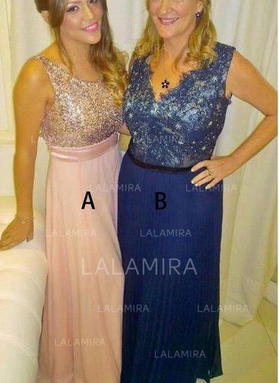 A-Line/Princess Chiffon Sleeveless V-neck Floor-Length Zipper Up Mother of the Bride Dresses (008212798)