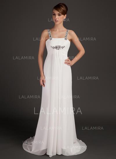 Corte imperial Escote redondo Gasa Magnífico Vestidos de madrina (008211401)