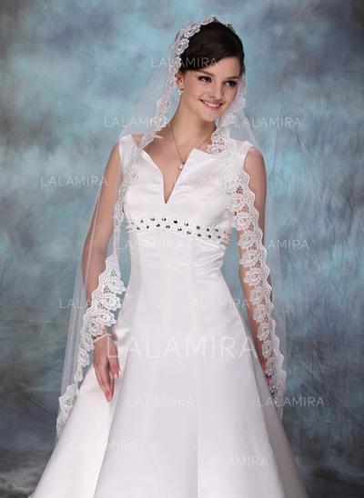 Waltz Bridal Veils Tulle One-tier Drop Veil/Mantilla With Lace Applique Edge Wedding Veils (006150815)