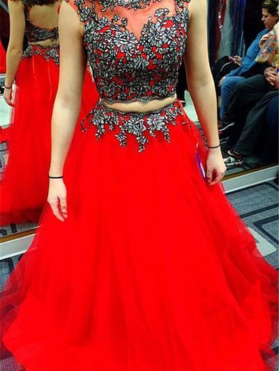 Corte de baile Barrer/Cepillo tren Vestidos de baile de promoción Escote redondo Tul Sin mangas (018145904)