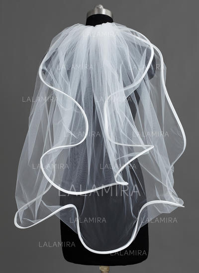 Elbow Bridal Veils Tulle Two-tier Cascade With Scalloped Edge Wedding Veils (006151761)