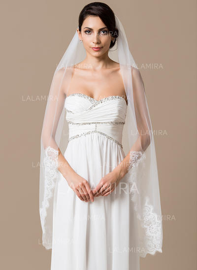 Waltz Bridal Veils Tulle One-tier Mantilla With Lace Applique Edge Wedding Veils (006151786)