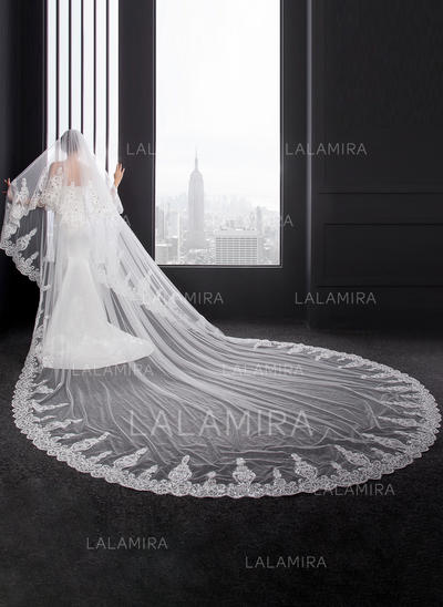 Cathedral Bridal Veils Two-tier Oval With Lace Applique Edge With Lace Wedding Veils (006152537)