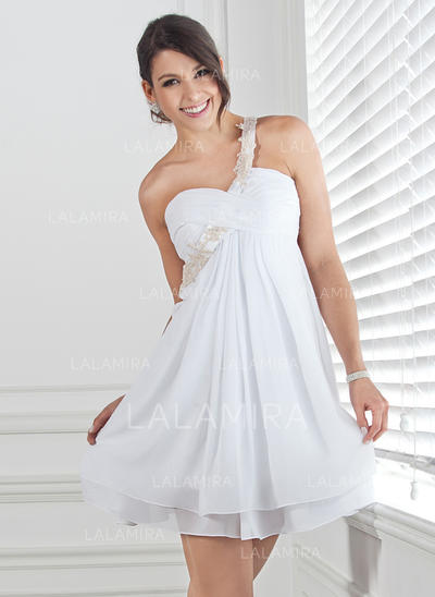 Empire One-Shoulder Short/Mini Chiffon Homecoming Dress With Ruffle Beading Appliques Lace (022020691)