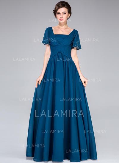 A-Line/Princess Chiffon Short Sleeves Square Neckline Floor-Length Zipper Up Mother of the Bride Dresses (008027058)