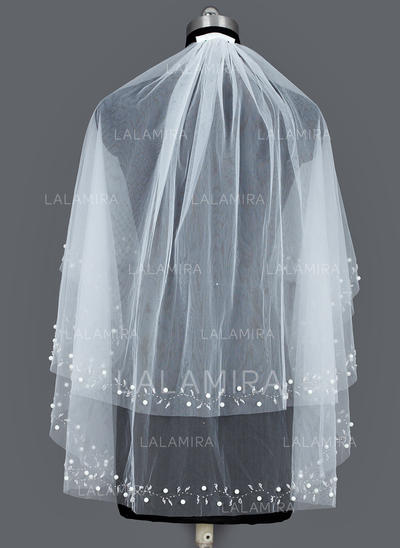Elbow Bridal Veils Tulle Two-tier Oval With Cut Edge Wedding Veils (006151326)