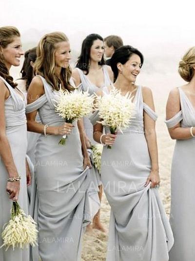 Vestidos princesa/ Formato A Longos Decote V Sem magas Tecido de seda Vestidos de madrinha (007212234)