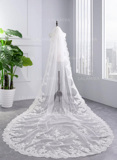 Cathedral Bridal Veils Tulle One-tier With Lace Applique Edge With Lace Wedding Veils (006152507)