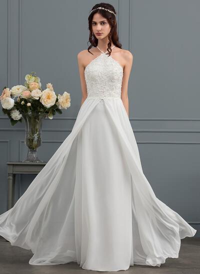 A-Line/Princess V-neck Sweep Train Chiffon Wedding Dress With Beading Sequins (002145292)