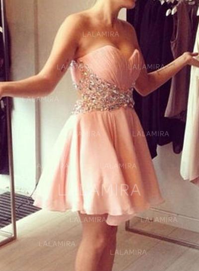 Tecido de seda Sem magas Curto/Mini Amada Vestidos de boas vindas (022212283)