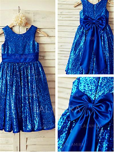 Scoop Neck A-Line/Princess Flower Girl Dresses Sequined Bow(s)/Pleated Sleeveless Tea-length (010211977)