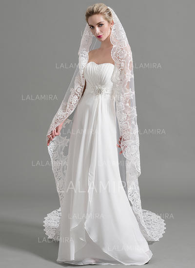 Cathedral Bridal Veils Tulle One-tier Oval/Drop Veil With Lace Applique Edge Wedding Veils (006151965)