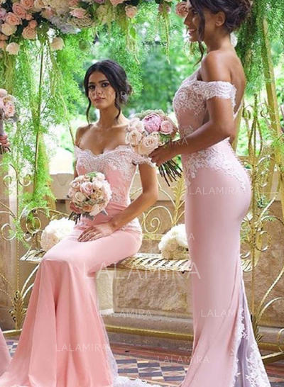 Trumpet/Mermaid Stretch Crepe Bridesmaid Dresses Lace Off-the-Shoulder Short Sleeves Sweep Train (007217807)