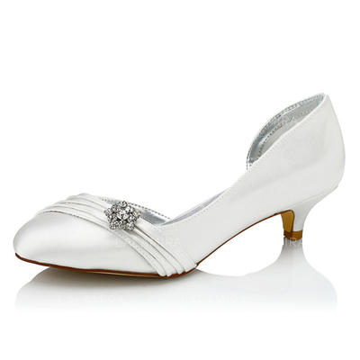 b4e823c2ace Women s Pumps Dyeable Shoes Low Heel Satin With Rhinestone Wedding Shoes  (047206056)