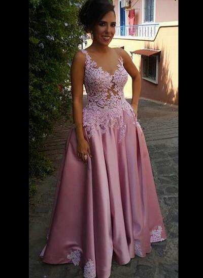 Decote redondo Vestidos princesa/ Formato A Zipper nas costas Cetim Vestidos de festa (017213638)