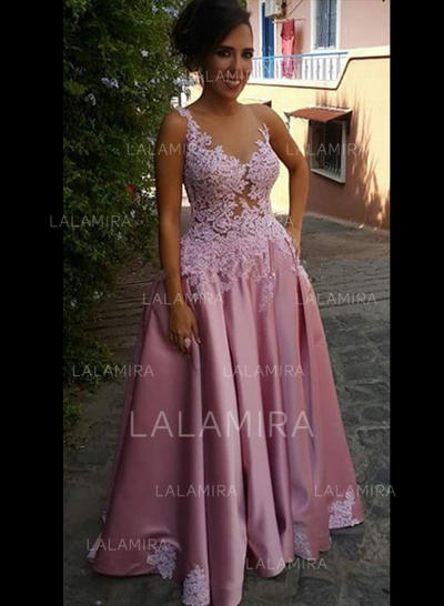 Scoop Neck A-Line/Princess Zipper Up Satin Evening Dresses (017213638)