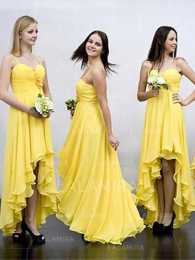 A-Line/Princess Sweetheart Asymmetrical Bridesmaid Dresses With Ruffle (007211705)