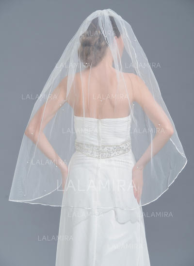 Fingertip Bridal Veils Tulle One-tier Classic With Pencil Edge Wedding Veils (006152114)