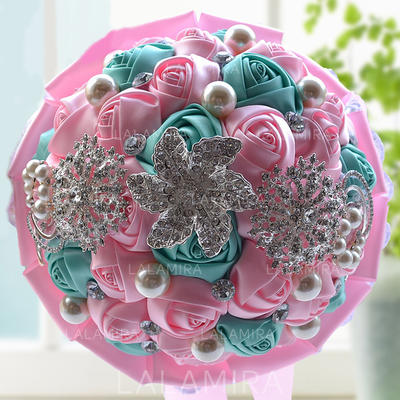 "Bridal Bouquets/Bridesmaid Bouquets Round Wedding Satin/Rhinestone 9.84""(Approx.25cm) Wedding Flowers (123189032)"