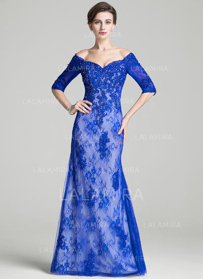 Trumpet/Mermaid Lace 1/2 Sleeves Off-the-Shoulder Floor-Length Zipper Up Mother of the Bride Dresses (008072718)