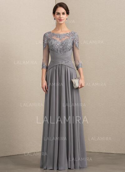 Corte A Decote redondo Longos Tecido de seda Renda Vestido de festa com Pregueado (017192568)