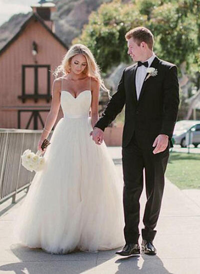 Sweetheart A-Line/Princess Wedding Dresses Tulle Sash Sleeveless Sweep Train (002148063)