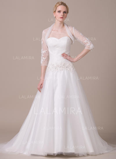 Corazón Corte de baile Vestidos de novia Tul Volantes Encaje Cuentas Lentejuelas Sin mangas Cola corte (002210618)
