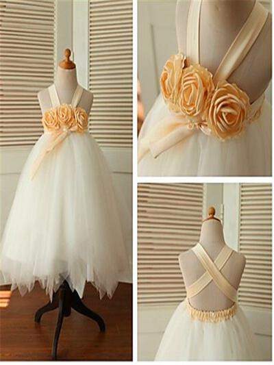 Straps Ball Gown Flower Girl Dresses Tulle Flower(s) Sleeveless Ankle-length (010211894)