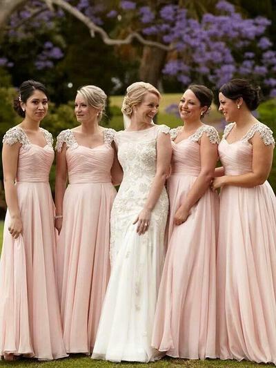Cap Straps Chiffon Bridesmaid Dresses