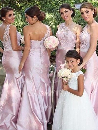 Floor-Length One-Shoulder Trumpet/Mermaid Satin Bridesmaid Dresses (007211709)