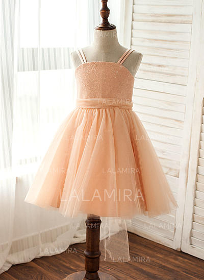 Straps A-Line/Princess Flower Girl Dresses Tulle/Sequined Sequins Sleeveless Knee-length (010212079)
