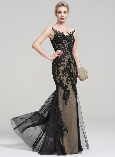 Trumpet/Mermaid Scoop Neck Floor-Length Tulle Lace Evening Dress (017093452)