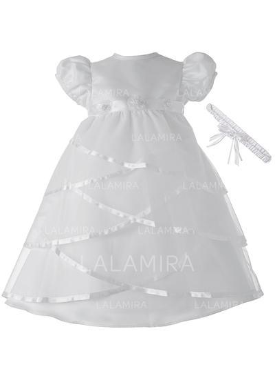 Cetim Decote redondo Beading Vestidos de batismo do bebê com Manga curta (2001217385)