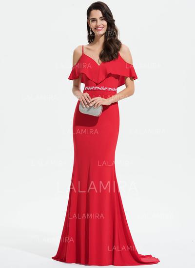 Trompete/Sereia Decote V Sweep/Brush trem Jersey Vestido de baile com Renda Beading lantejoulas Babados em cascata (018175950)