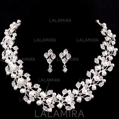 Sistemas de la joyería Aleación/La perla de faux Cristal austriaco Corchete de la langosta Perforado Joyas de boda & fiesta (011073969)
