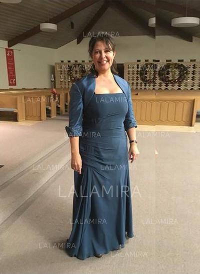 Forme Princesse Encolure carrée Mousseline Moderne Robes mère de la mariée (008212756)