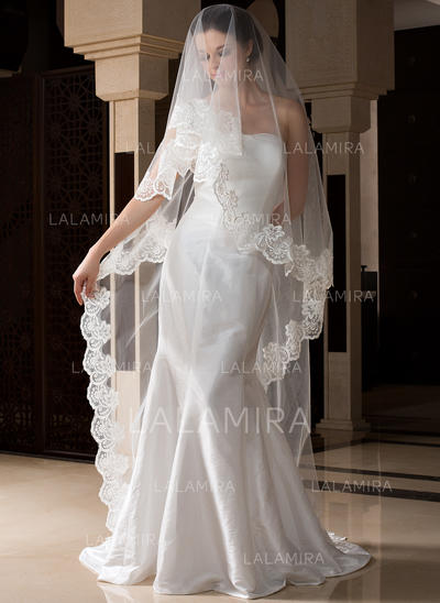 Cathedral Bridal Veils Tulle One-tier Drop Veil With Lace Applique Edge Wedding Veils (006151526)