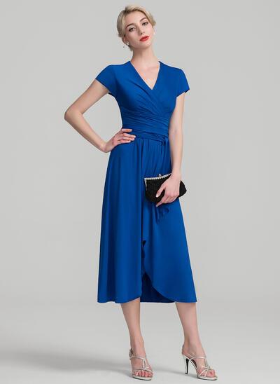 Coupe Évasée Col V Asymétrique Jersey Robe de mère de la mariée avec Plissé (008107637)