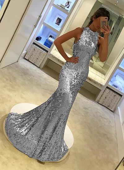 Sequined Trumpet/Mermaid Elegant Evening Dresses Sleeveless (017146420)