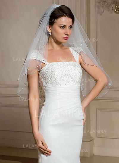 Elbow Bridal Veils Tulle Two-tier Classic With Beaded Edge Wedding Veils (006150990)