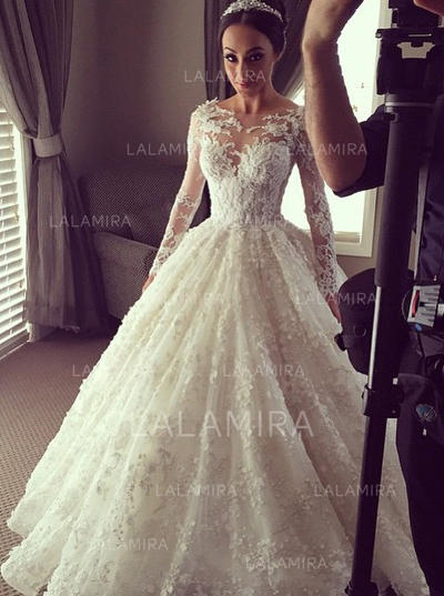 Flattering Ball-Gown With Lace Wedding Dresses (002144873)