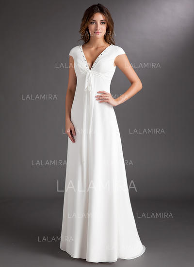 Sweep Train Short Sleeves A-Line/Princess - Chiffon Wedding Dresses (002213207)