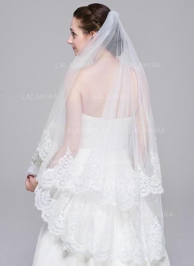 Velos de novia vals Tul Uno capa Estilo clásico con Con Aplicación de encaje Velos de novia (006078827)