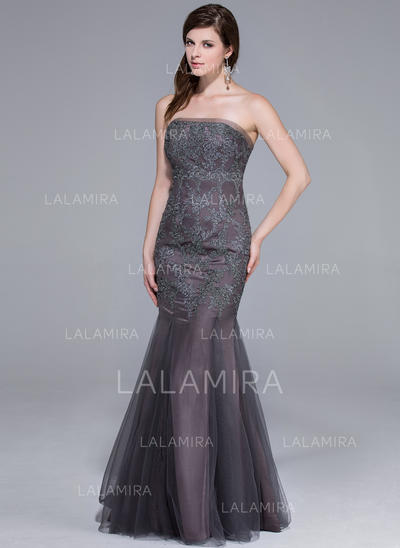 Magnificent Tulle Evening Dresses Trumpet/Mermaid Floor-Length Strapless Sleeveless (017201104)