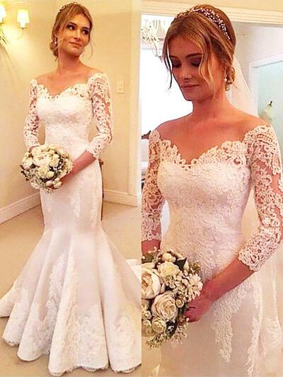 Court Train Trumpet/Mermaid Magnificent Tulle Wedding Dresses (002210842)