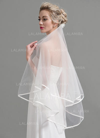 Elbow Bridal Veils Tulle Two-tier Classic With Pencil Edge Wedding Veils (006151928)
