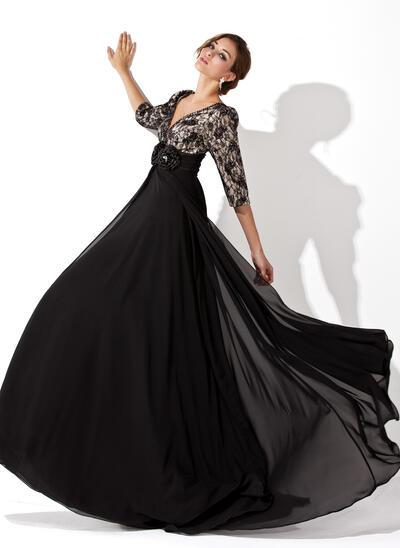 A-Line/Princess V-neck Sweep Train Chiffon Lace Evening Dress With Ruffle Beading Flower(s) (017030749)