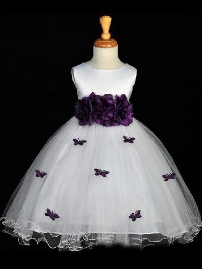 Scoop Neck Ball Gown Flower Girl Dresses Satin Sash/Flower(s)/Bow(s) Sleeveless Tea-length (010211798)